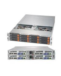 "Supermicro 2U 4Nodes 6029BT-HNC0R 4x DP Scalable Processors 24 DIMM, up to 3TB DDR4 12x 3.5"" NVMe/SAS3 2x M.2 2200W (Redundant, Titanium)"