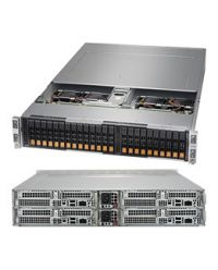 Supermicro 2U 4Nodes 2123BT-HNR 4x DP AMD EPYC™ 7000-Series 16 DIMM, up to 2TB DDR4 6x 2.5'' NVMe 1 M.2, 1 SATA DOM SIOM LAN Opt. 2x 2200W (Redundant, Titanium)