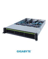 "Gigabyte 2U R282-NO0 Socket P+ 24 x 2.5"" Gen4 NVMe 2 x 2.5"" SATA/SAS  2 x PCIe Gen4 x16 1 x OCP 2.0 1600W"