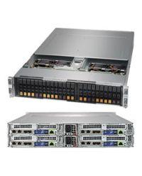 Supermicro 2U 4Nodes 2029BT-HNC1R 4x DP Scalable Processors 4x 24 DIMM, DDR4 4x (4 NVMe + 2 SAS3 2.5'') 1 SIOM Broadcom 3108 2200W (Redundant, Titanium)