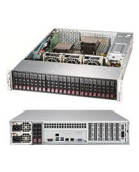Supermicro 2U Storage 2029P-E1CR24H DP Scalable Processors 16 DIMM, Up to 2TB DDR4 24x 2.5'' direct attached SAS3, 2x 2.5'' Opt. 2 NVMe M.2 7 PCI-E 3.0 3108 SAS3 AOC 2x10Base-T 1200W (Redundant, Titanium)